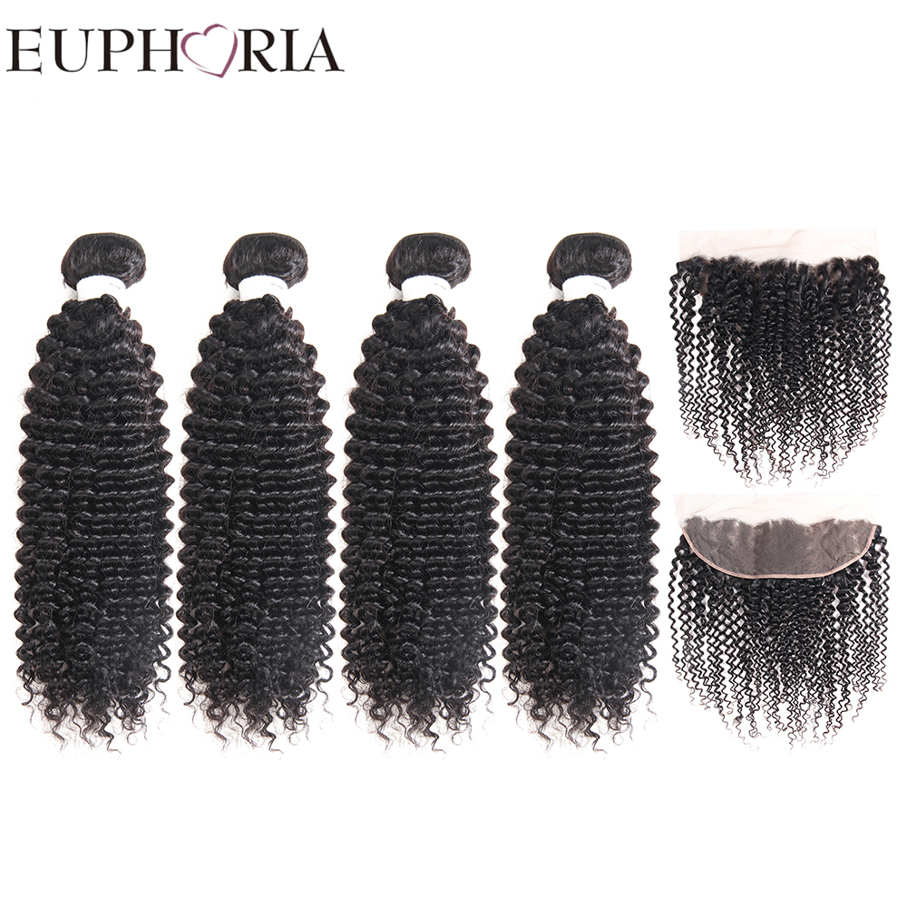 EUPHORIA Kinky Curly Human Hair 4 Bundles With Lace Frontal Closure 13X4 Natural Color Brazilian Remy Hair Weaves 5pcs For Salon