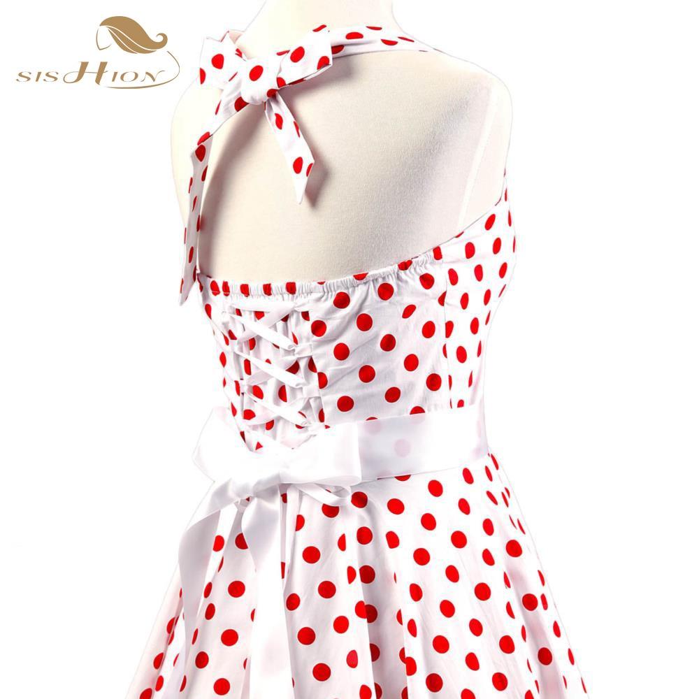 54f89bc7f SISHION Verão 2018 Casual Mulheres Vestido Plus Size Red Bolinhas Brancas  Elegante Sexy 50 s Retro Rockabilly Vestido Do Vintage VD0081 em Vestidos  de ...