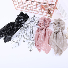 Fashion Floral Print Hair Scarf Elastic Bands For Women Vintage Hairband Bow Rubber Ropes Scrunchie Girls Ties
