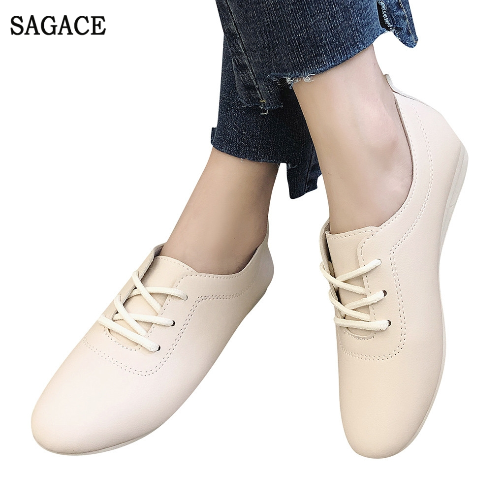 Loafers Office-Shoes Lace-Up Casual-Work Roman Ladies Solid