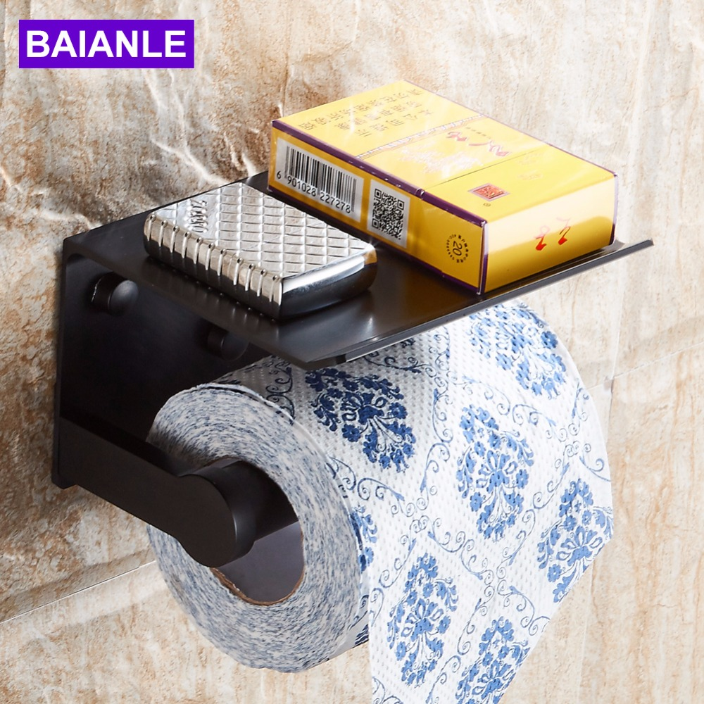 Free shipping Wall Mounted Space Aluminum Black/Golden Paper Towel Shelf Phone Toilet Paper Holder