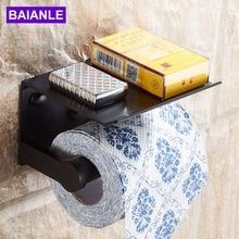 Держатель для туалетной бумаги с полкой черный настенный держатель для мобильного телефона бумажный держатель для полотенец декоративная ванная рулонная бумага держатель креативный