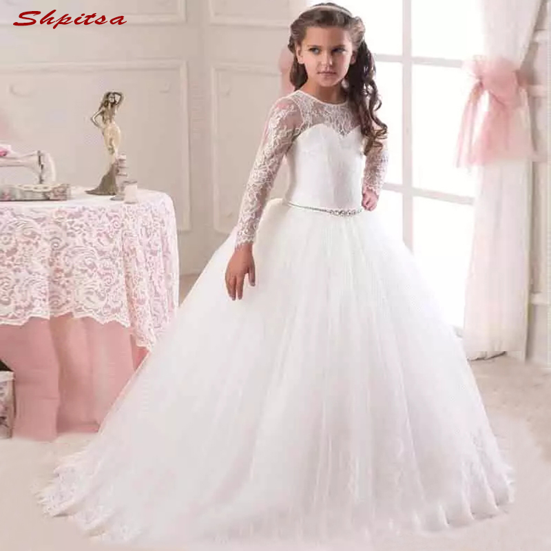 Long Sleeve   Flower     Girl     Dresses   for Wedding Party 2018 First Communion Pageant   Dresses   for   Girls   Flowergirl   Dresses
