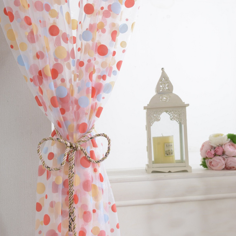 0.95*2M Polka Dots Drape Tulle Curtain Panel Sheer Scarf Valance Tulle Voile Fabrics Organza Sheer Panel Curtains Tulle