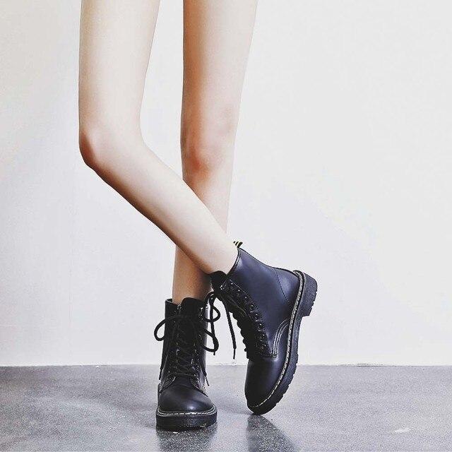 Moda Kadın İngiltere Tarzı deri çizmeler kadın martin Martin Ayakkabı Motosiklet kışlık botlar kadın su geçirmez # g10