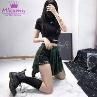 2019 Summer Women Harajuku Shorts Skirts Gothic Punk Black Red Green Plaid Pleated Skirts High Waist Female Fashion Short Skirts