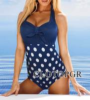 2017 New Sexy Halter Padded 1 Piece Dots Black Blue Womens Bikini Monokini Bikiqui Swimwear Swimsuit