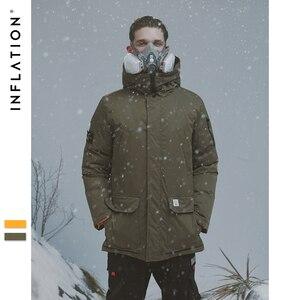 Image 2 - INFLATION longue doudoune hommes hiver manteau mode hiver chaud blanc canard épais doudoune à capuche vêtements de sortie dhiver veste 8765W