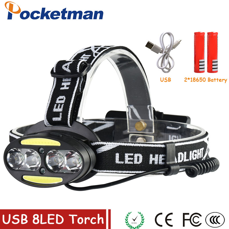 Headlight 30000 Lumen headlamp 4* XM-L T6 +2*COB+2*Red LED Head Lamp Flashlight Torch Lanterna with batteries charger z30 r3 2led super bright mini headlamp headlight flashlight torch lamp 4 models