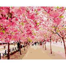 Unframed DIY Oil Painting By Numbers Kits Landscape Pink Cherry Blossoms  Canvas Printing Wall Mural Picture Acrylic Paint Decals