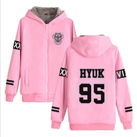 KPOP VIXX Pink Hoodie Women Men K POP VIXX Chained Up Thicken Zipper Hooded Sweatshirt Outwear Winter Warm Coat K POP Clothes