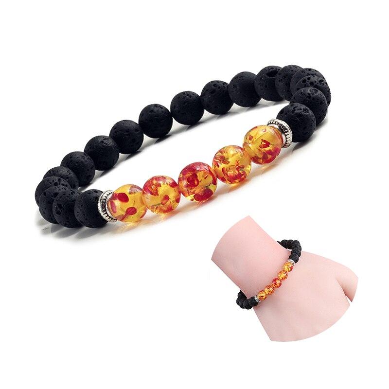 Natural Volcanic Stone Bracelets Charm Women Chakra Balance Beads Men Black Lava Turquoises Strand Bangle Fashion Buddha Jewelry 2