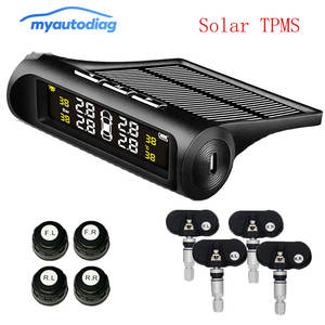 wireless tire pressure monitoring alarm system Car solar TPMS LCD color display