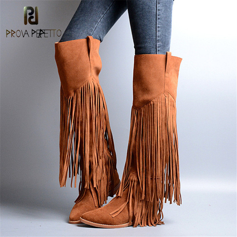 Prova Perfetto Euramerican Design Genuine Leather Cow Suede Tassels Over The Knee Boots Solid Pointed Toe Zip Women Martin Boots