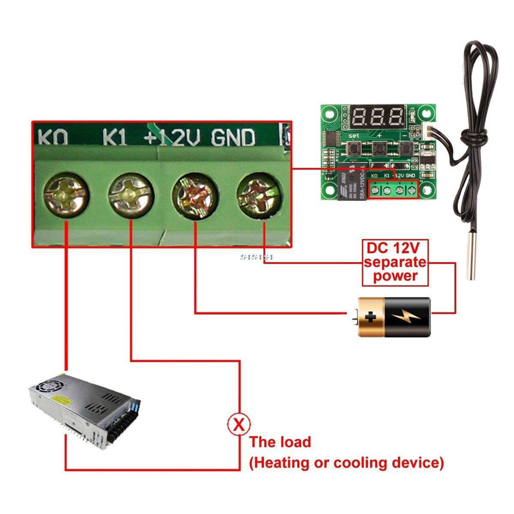 DC 12V W1209 Digital Cool Heat Temp Thermostat Thermometer Temperature Controller On Off Switch 50 110C DC 12V W1209 Digital Cool/Heat Temp Thermostat Thermometer Temperature Controller On/Off Switch -50-110C+W1209 Case Acrylic Box