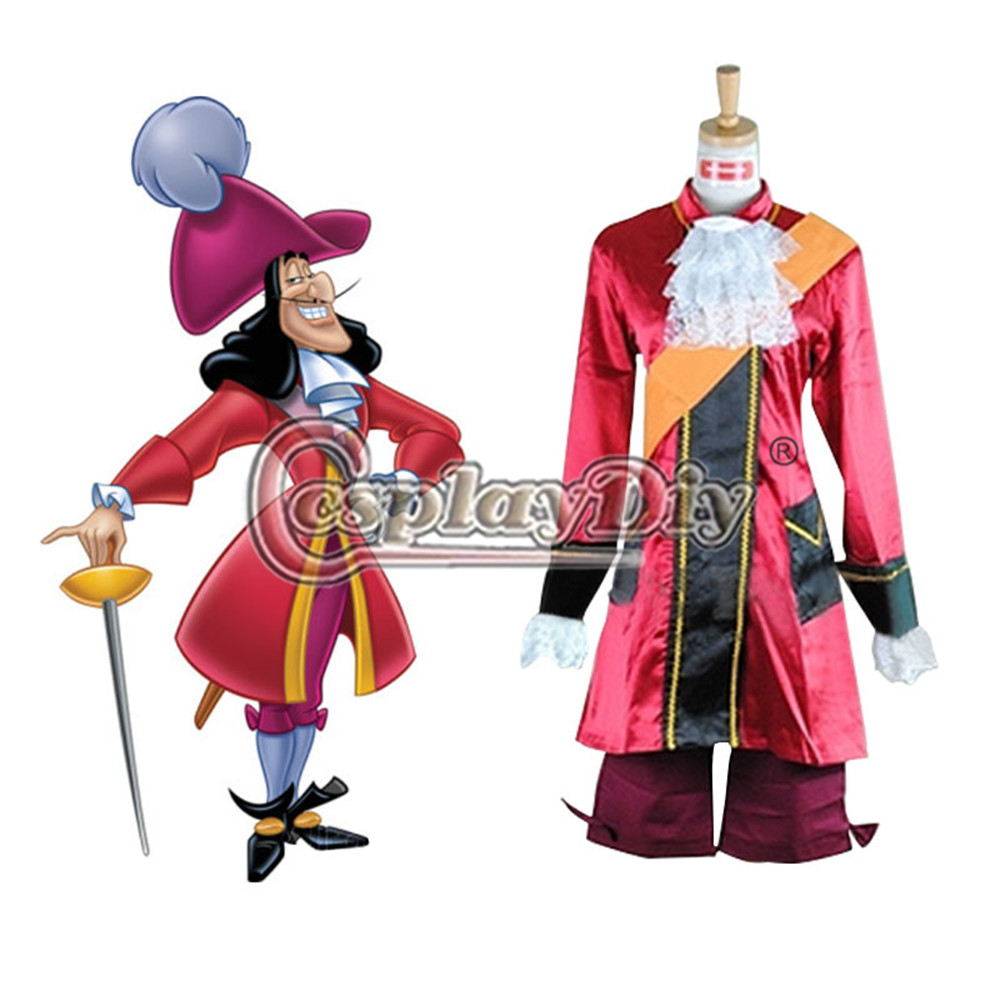 Peter Pan Captain Hook Cosplay Costume Adult Men Carnival Party Outfit Custom Made D0707
