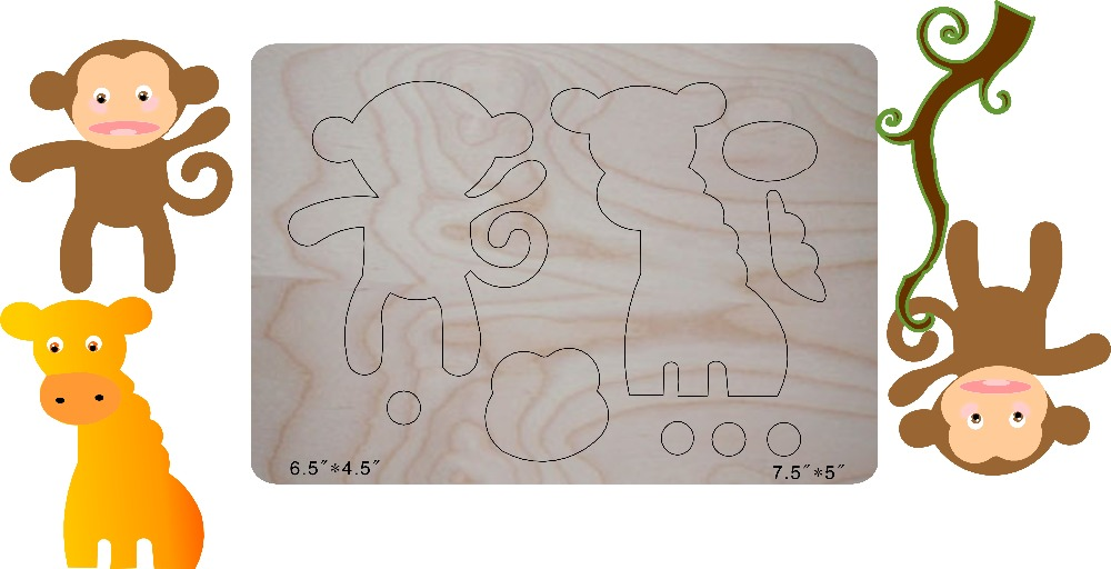 Little monkey DIY wooden mold multi purpose scrapbook suitable for common machines in the market