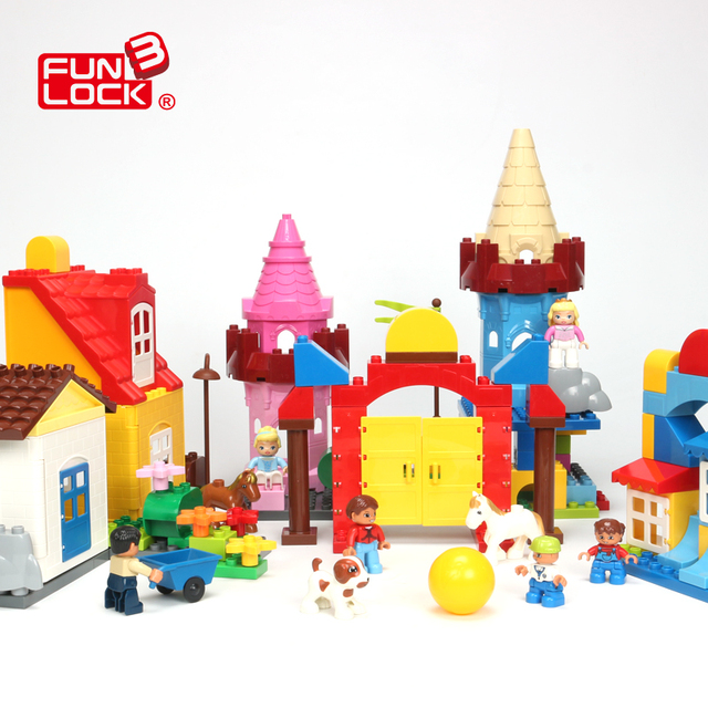 funlock duplo blocks castle building brick parts for kids educational funny basic assemble building toys for