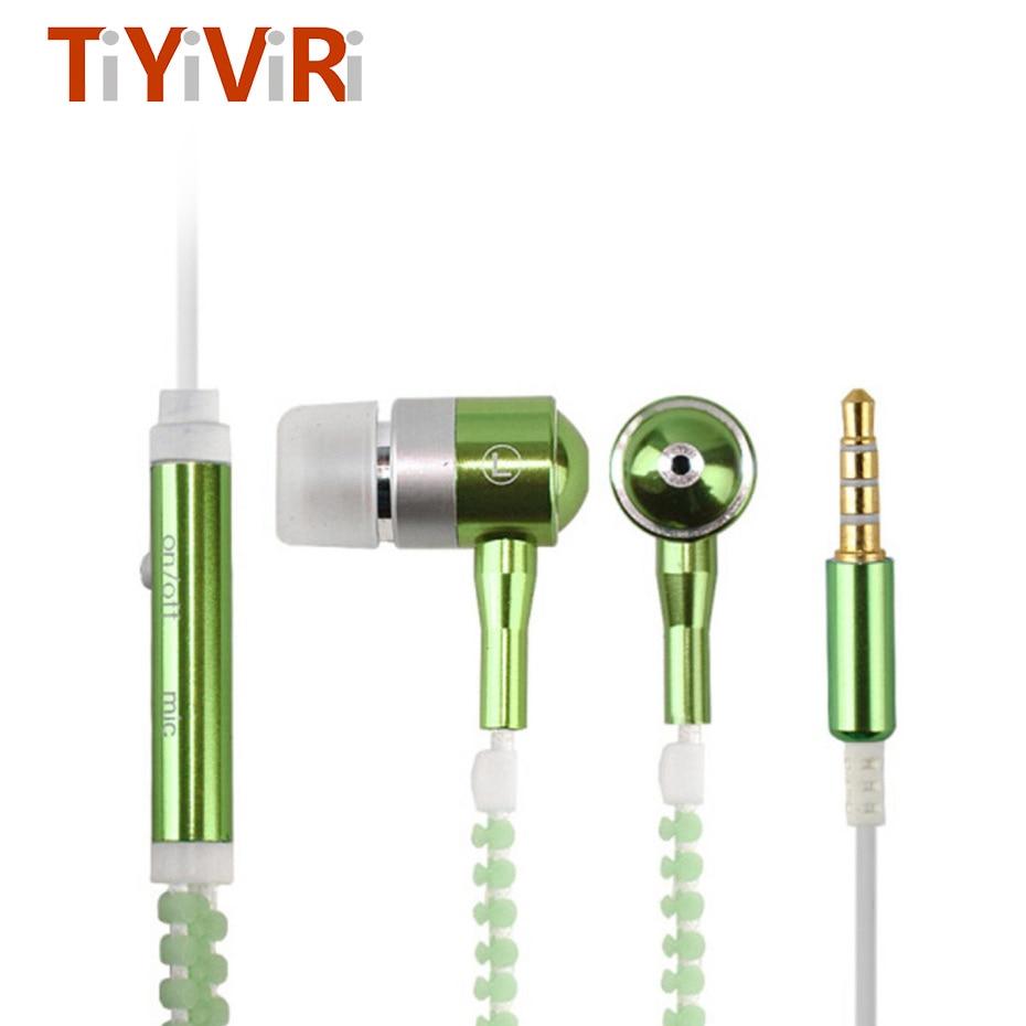 Fashion 3.5mm Sports Wired Zipper Earphones Headset Luminous Light Glow in the Dark Earphone Metal earphones with Mic for Phone