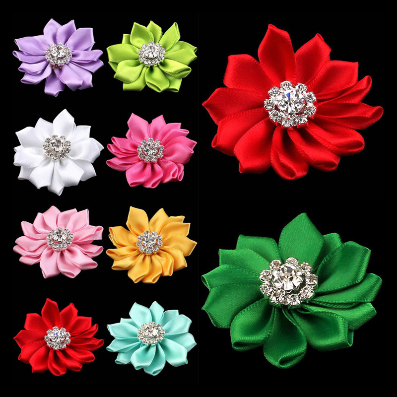 """30pcs/lot 2"""" 25colors Multilayers Satin Ribbon Hair Flower+Rhinestones For Kids Hair Accessories Fabric Flowers For Headbands"""