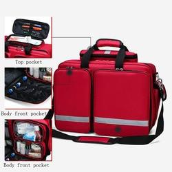 Kit de primeros auxilios para exteriores, bolsa de mensajero cruzada impermeable de nailon rojo para deportes, bolsa médica de emergencia para viaje familiar DJJB026