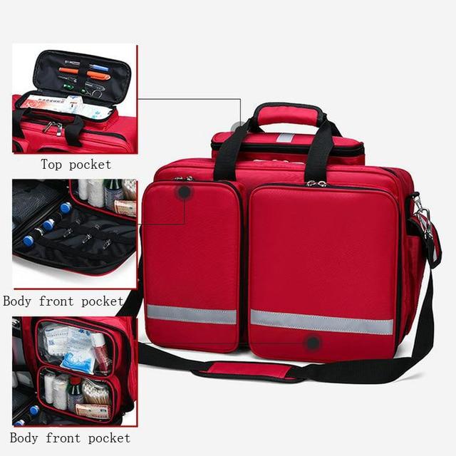 Outdoor First Aid Kit Refrigeratible Sports Red Nylon Waterproof Cross Messenger Bag Family Travel Emergency Bag DJJB026