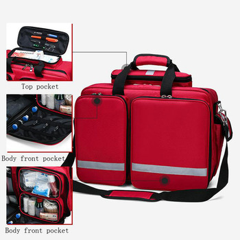 Outdoor First Aid Kit Refrigeratible Sports Red Nylon Waterproof Cross Messenger Bag Family Travel Emergency Medical Bag DJJB026
