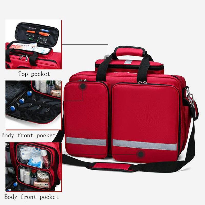 Trousse de premiers soins en plein air sac de sport en Nylon rouge imperméable à l'eau sac de voyage en famille sac médical d'urgence DJJB026