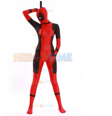 (DP902) Lady Deadpool Costume Pattern Lycra Spandex Superhero Cosplay Halloween Party Costume Unisex Fetish Zentai Suits