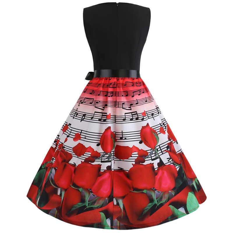 Bebovizi 2019 Summer Fashion Mulheres Vintage Plus Size Bandagem Vestido Ocasional Vestidos de Escritório Elegante Patchwork Impressão da Nota Musical
