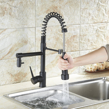 Hot and Cold Water Kitchen Sink Faucet Pull Down Sprayer Mixer Taps with Bracket Bar Sink