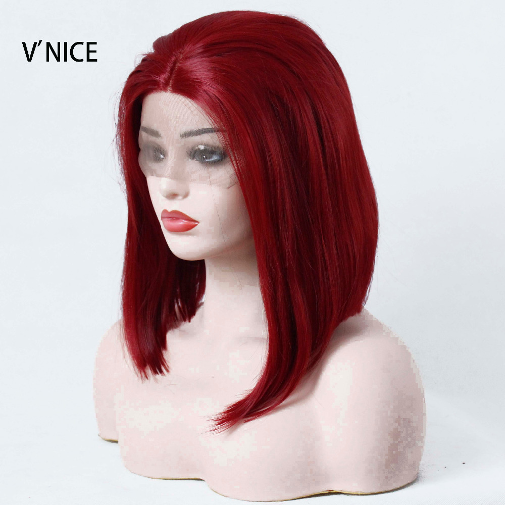 VNICE Synthetic Lace Front Wig Straight Burgundy Wig Womens Short Hair Cosplay Lolita Wig Lace Front Bob Heat Resistant Fiber