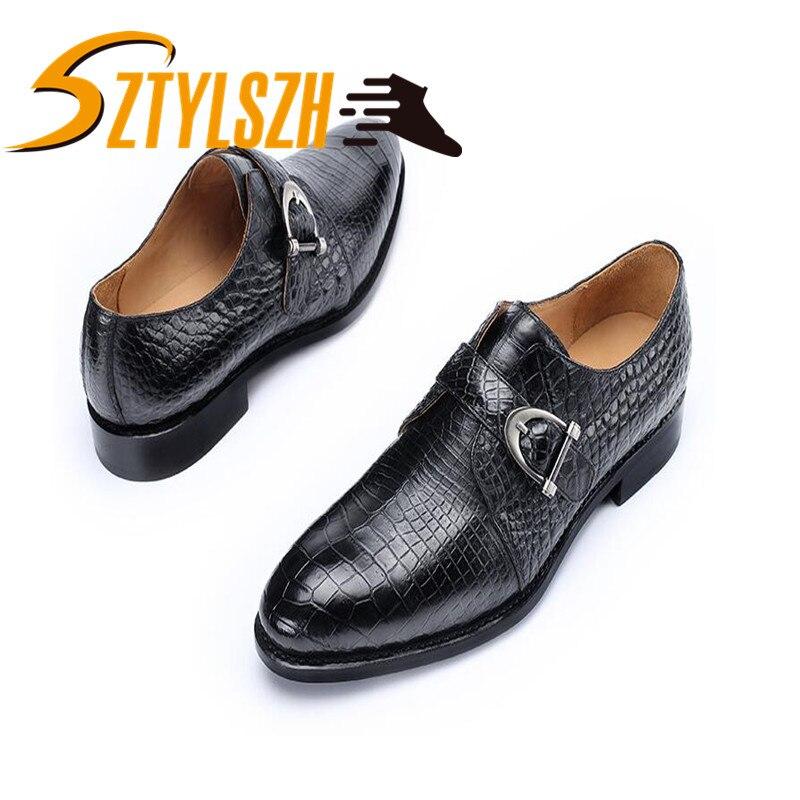 3 En Medida Zapatos La Oxford De 3 Los 44 Real 11 Vestir 111 Lujo Piel Marca 38 Cocodrilo Planos Relieve Hombres T8dq8w