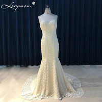 Real Elegant Ivory Spaghetti Straps Mermaid Sweetheart Wedding Dresses Summer Bridal Gowns With Pearls Robe De