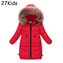 2017 New Girl Winter Coats X long Solid Zipper Wide 100% Duck Down Parkas Teenagers Real Fur Thick Jacket Winter Coat 5-14 Years