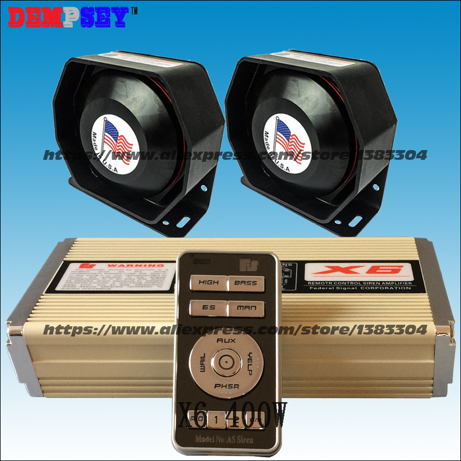 FS X6 400W Wireless Siren And Speaker For Car 28 Tones Dual Channel With MIC ,Police For Siren ,2 Speakers