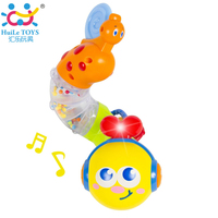 Free Shipping Huile Toys 917 Transformable Musical Twisting Worm Animal Rattles And Belt Teethers Rotating Baby