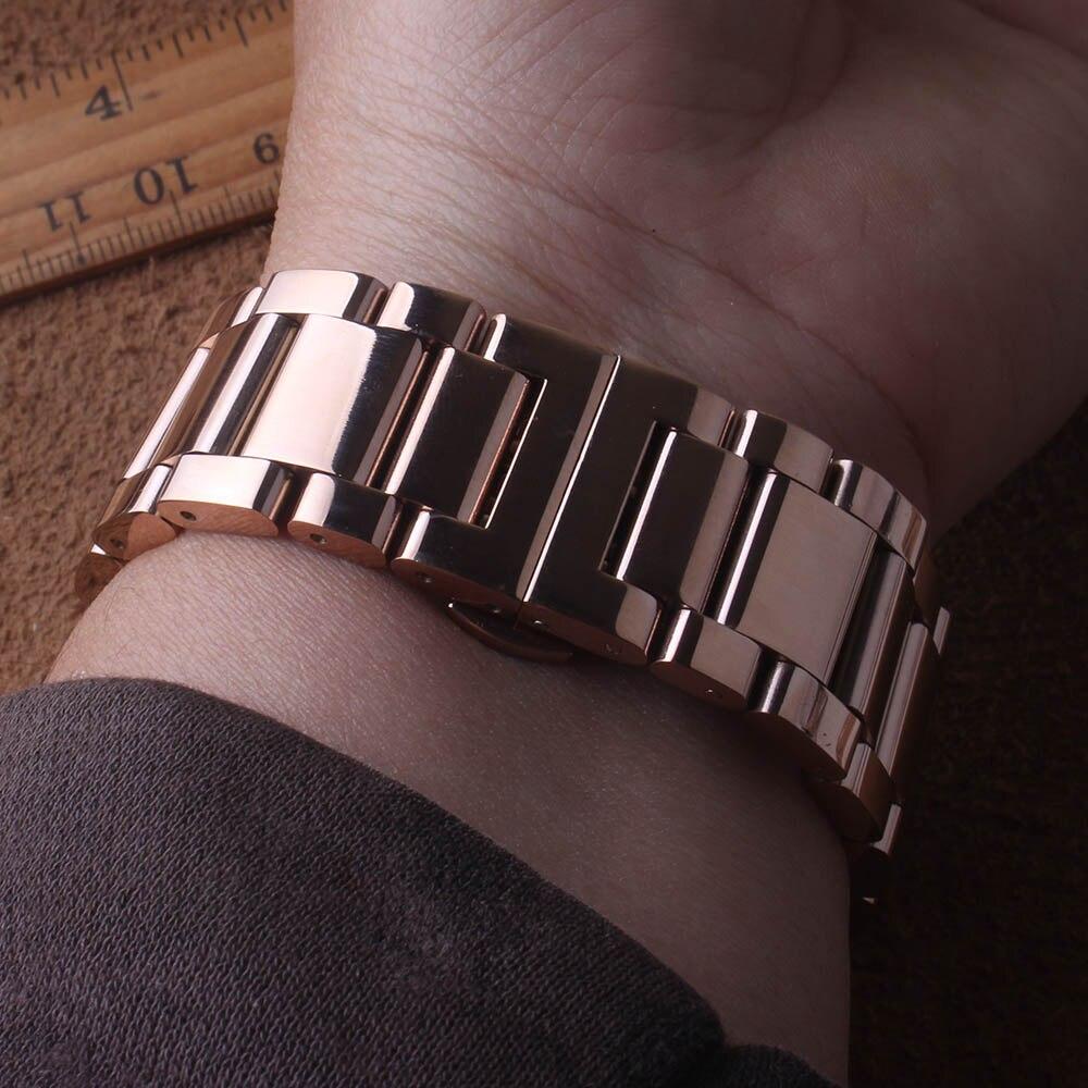 솔리드 링크 스테인레스 스틸 시계 밴드 스트랩 곡선 끝 삼성 갤럭시 42mm 시계 rosegold 밴드 너비 20mm 고품질-에서워치 밴드부터 시계 의  그룹 3