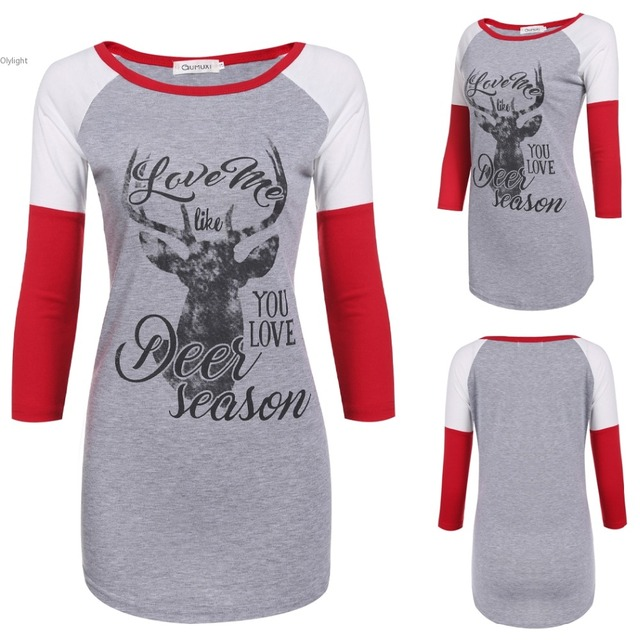 e7f5af7d Women New Fashion clothing Casual O-Neck 3/4 Raglan Sleeve T shirts Animal  Letter Print t-shirt lady Tops long Sleeve Female top