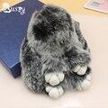14-15 cm Conejito Llavero Dos Tonos Pom Pompón de Piel de Conejo Real Pom Llavero Para El Bolso Bolsa de Accesorios Del Coche ornamentos colgantes Ed