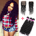 Brazilian Virgin Hair with Closure 7A Brazilian Deep Wave with Closure Deep Curly Brazilian Hair Weave Bundles with Closure