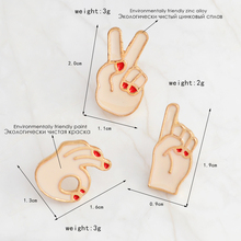 3pcs/set OK,NO,YEAH hand gesture sign language pins and brooches Badges Hard enamel pins Collar jackets jeans bags accessories