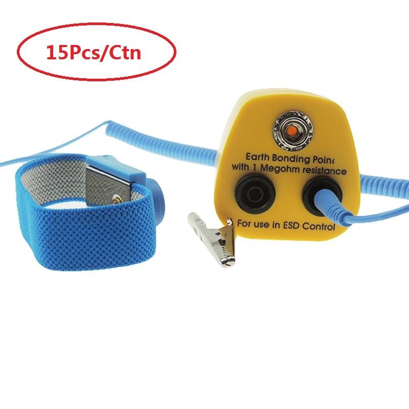 15 Sets Earth Bonding Plug With Esd Wrist Strap Hq Wrist Band Strap With 1.8m Anti Static Grounding Cord And Esd Banana Plug