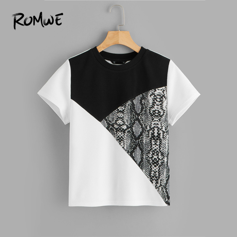 ROMWE Cut-And-Sew Short Sleeve Tee 2019 Black And White Short Sleeve Tees Women Snakeskin Print Summer Round Neck T Shirt