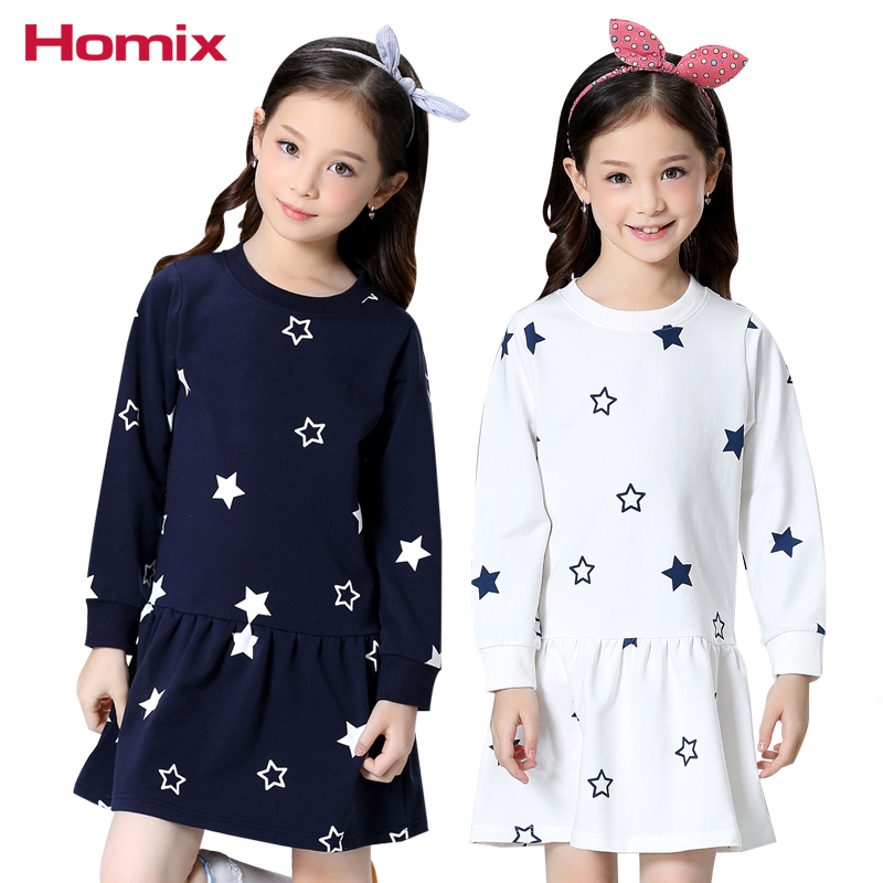Girls Dress 4T-12T Baby Girl Sweat Dresses Long Sleeve Star Print Cotton sweatshirt Tops Children Clothes Kids Clothing цена 2017