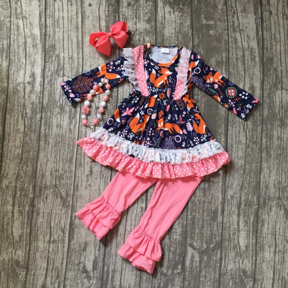 Fall/winter baby girls outfits children clothes floral navy coral fox lace cotton ruffle flower boutique match accessory kid set