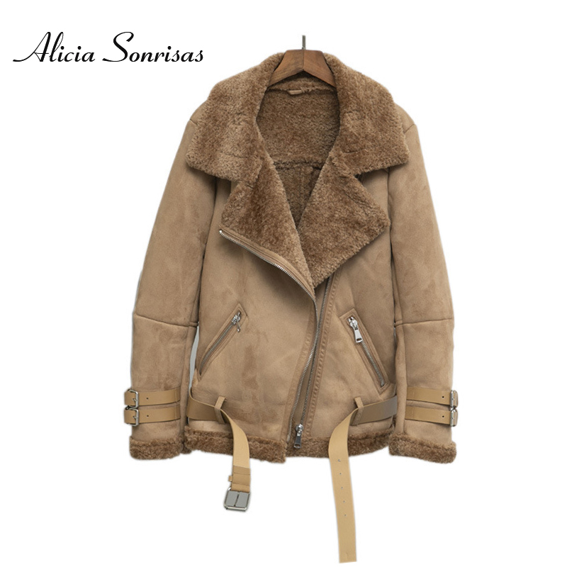 Women Suede Jacket Fur Coat Loose Thick Warm Faux Sheepskin Coat New Winter Motorcycle Lambs 3 Colors Belts Coats