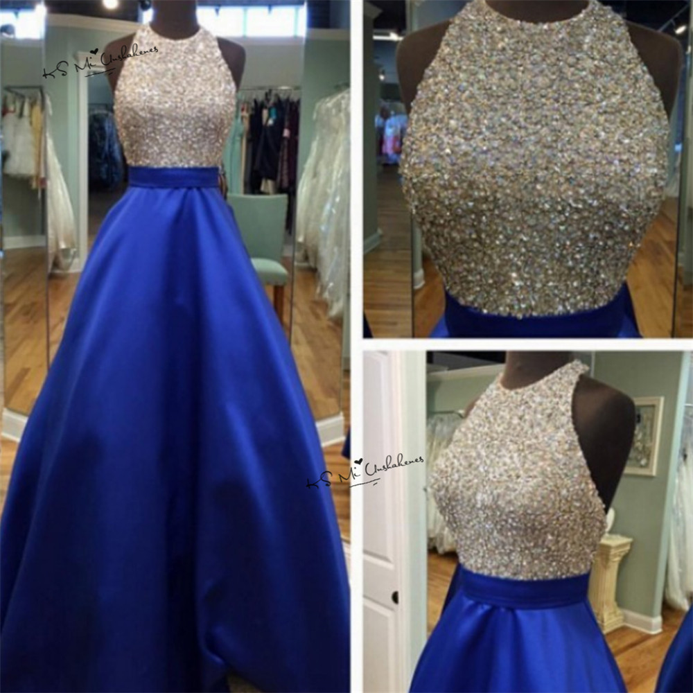 Royal Blue Prom Dresses Ball Gown Long Evening Gowns with Crystals ...