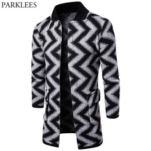 Striped Mens Long Winter Cardigan Sweater Pull Homme 2017 Fashion Casual Stand Collar Slim Fit Mens Knitted Cardigans Sweaters