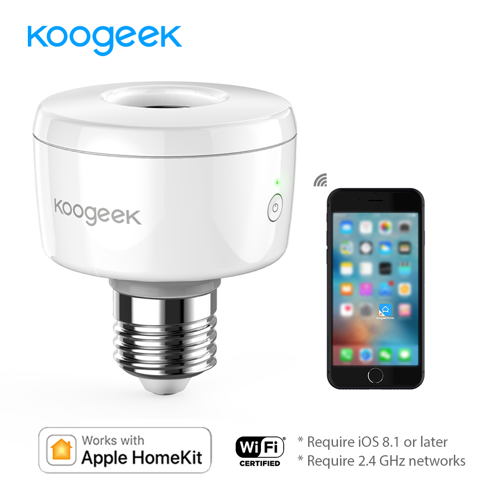 цена Koogeek E26 E27 Wifi Smart Socket Light Bulb Adapter Smart Lamp Base for Apple HomeKit Siri Smart Remote Control [Only for IOS]